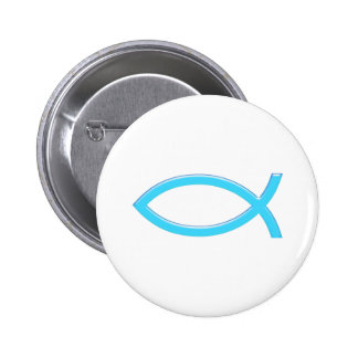 Ichthus - Christian Fish Symbol - Blue Pinback Buttons
