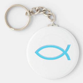 Ichthus - Christian Fish Symbol - Blue Key Chains
