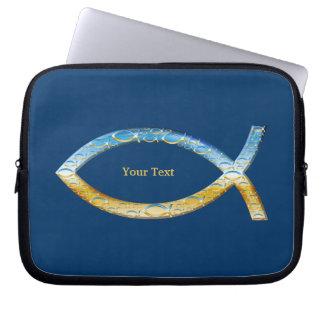 Ichthus - Christian Fish Symbol - Customizable Laptop Computer Sleeves