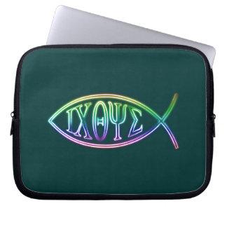 Ichthus- Christian Fish Symbol - Customizable Laptop Sleeves