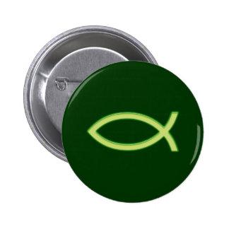 Ichthus - Christian Fish Symbol - Light Green 6 Cm Round Badge