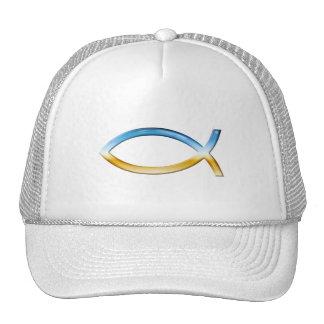 Ichthus - Christian Fish Symbol  Sky & Ground Mesh Hats