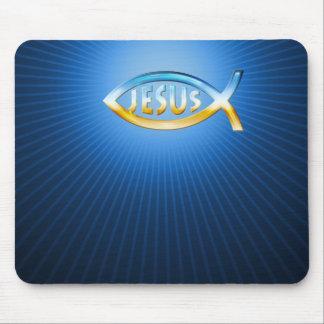 Ichthus - Christian Fish Symbol Sky & Ground Mousepad