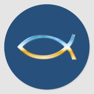 Ichthus - Christian Fish Symbol  Sky & Ground Round Sticker
