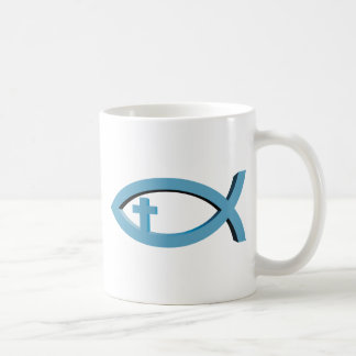 Ichthus - Christian Fish Symbol with Crucifix Mugs