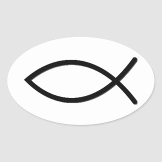 Ichthus Fish Symbol Oval Sticker