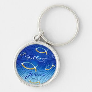 Ichthus Pattern on Blue Background Silver-Colored Round Key Ring