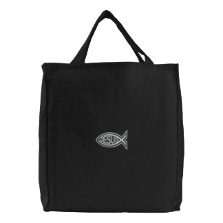 Ichthys Jesus  Fish Christian Embroidered Bags