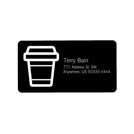 Icon Coffee or Latte Cup To-Go Address Label