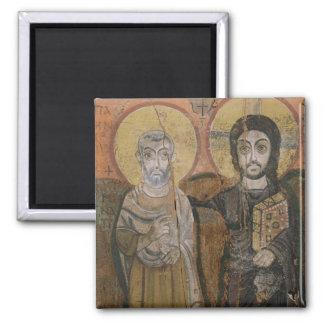 Icon depicting Abbott Mena with Christ Fridge Magnet