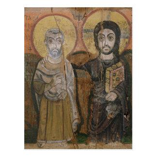 Icon depicting Abbott Mena with Christ Postcard