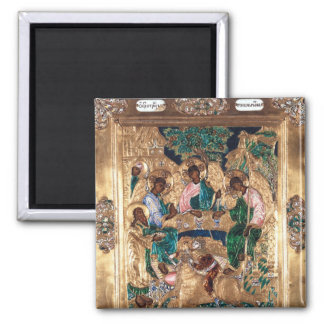 Icon depicting Abraham and the Three Angels Square Magnet