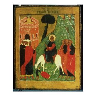 Icon depicting Christ's Entry into Jerusalem Poster