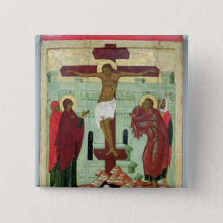 Icon depicting the Crucifixion with the Virgin 15 Cm Square Badge