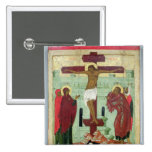 Icon depicting the Crucifixion with the Virgin Pinback Buttons