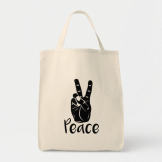 """Icon hand peace sign with text """"PEACE"""""""