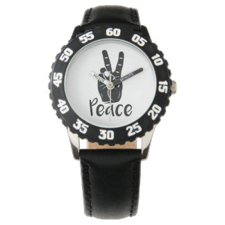 """Icon hand peace sign with text """"PEACE"""" Watches"""
