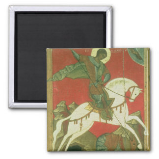 Icon of St. George and the Dragon Square Magnet