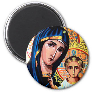 Icon of the Virgin of Kazan Romanian on glass Wind 6 Cm Round Magnet
