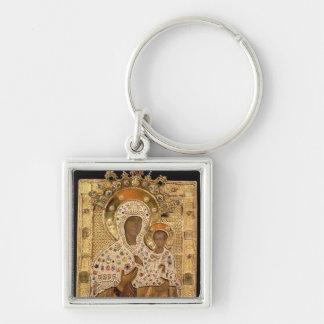 Icon of the Virgin, Smolenskaja monastery Silver-Colored Square Key Ring