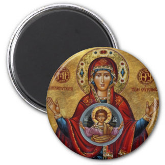 Iconic 15th Century Mary with Christ Child 6 Cm Round Magnet