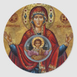 Iconic 15th Century Mary with Christ Child Round Stickers