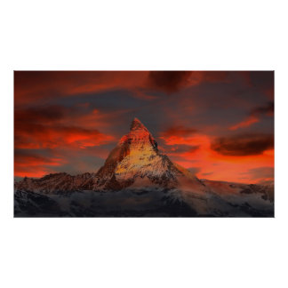 Iconic Alpine Mountain Matterhorn at Sunset Poster
