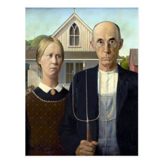 Iconic American Gothic by Grant Wood Postcard
