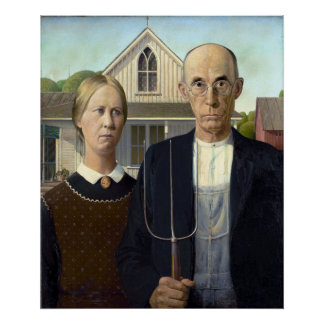 Iconic American Gothic by Grant Wood Poster