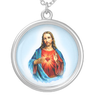 Iconic Image of Jesus with Heart Necklace