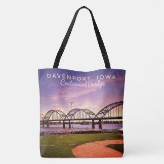 Iconic Iowa Centennial Bridge Large Tote