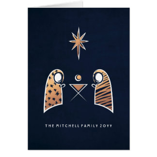 Iconic Nativity Scene Navy and Rose Gold Christmas Greeting Card