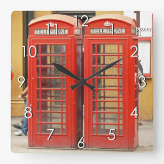 Iconic Red Telephone Boxes in London Square Wall Clock