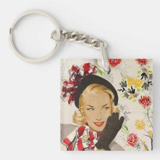 Iconic Retro Lady Image Double-Sided Square Acrylic Key Ring