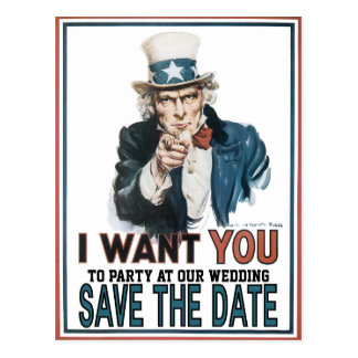 Iconic Vintage Uncle Sam Save The Date Postcard