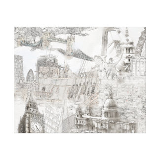 Icons of London - Digital Art Canvas