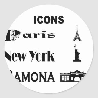 Icons-Paris-NewYork-Ramona Classic Round Sticker