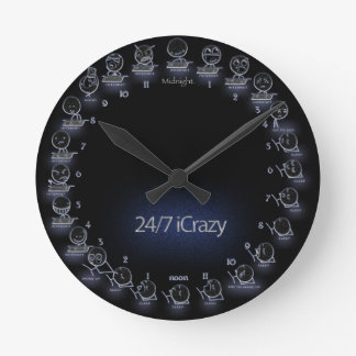 """iCrazy"" Internet Geek 24 Hour Schedule Wall Clock"