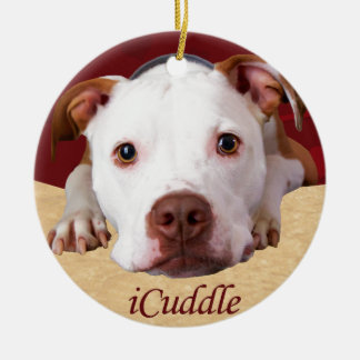 iCuddle Pitbull Ceramic Ornament