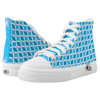 Icy Aqua Blue Turquoise Diamond Pattern High Tops