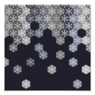 Icy Blue And Gray Winter Snowflake Hexagons Photographic Print