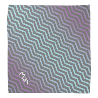 Icy Blue and Purple Chevron Pattern Personalized Bandannas