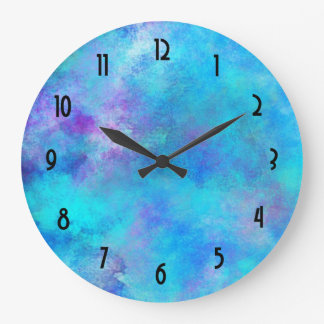 Icy Blue and Purple Watercolor Abstract Design Large Clock