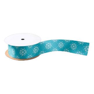 Icy Blue Christmas Snowflakes Pattern Satin Ribbon