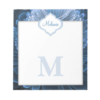 Icy Blue Floral Monogram Notepad