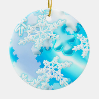 Icy Blue Snowflakes Christmas Tree Ornament