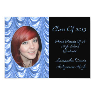 Icy Blue Swag Graduation Add Your Photo 5x7 Paper Invitation Card