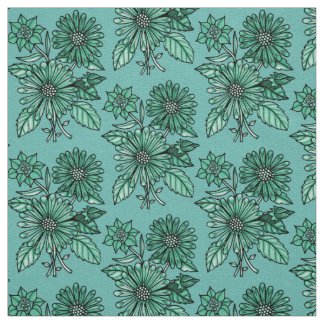 Icy-Green Floral Bouquet Fabric