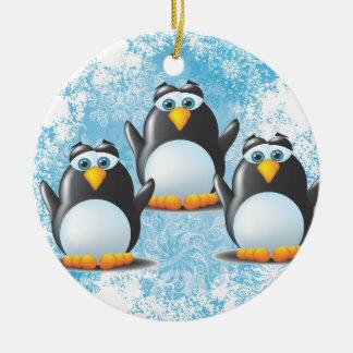 Icy Penguins Ceramic Ornament