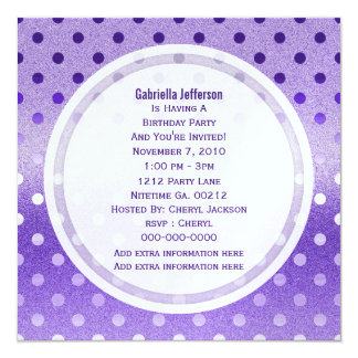Icy Purple Sparkle: Polka-dots: Party Invitation